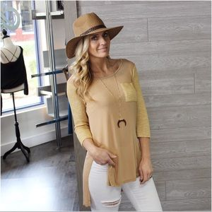 ✨LAST ONE✨Mixed knit High low tunic Taupe/Mustard